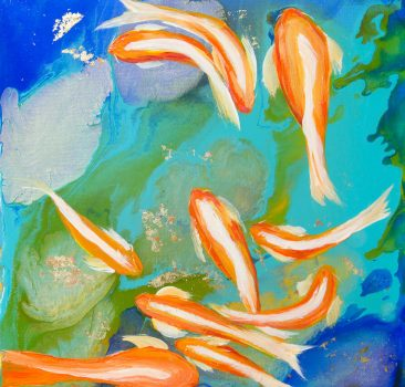 koi or goldfish swimming in pond painting