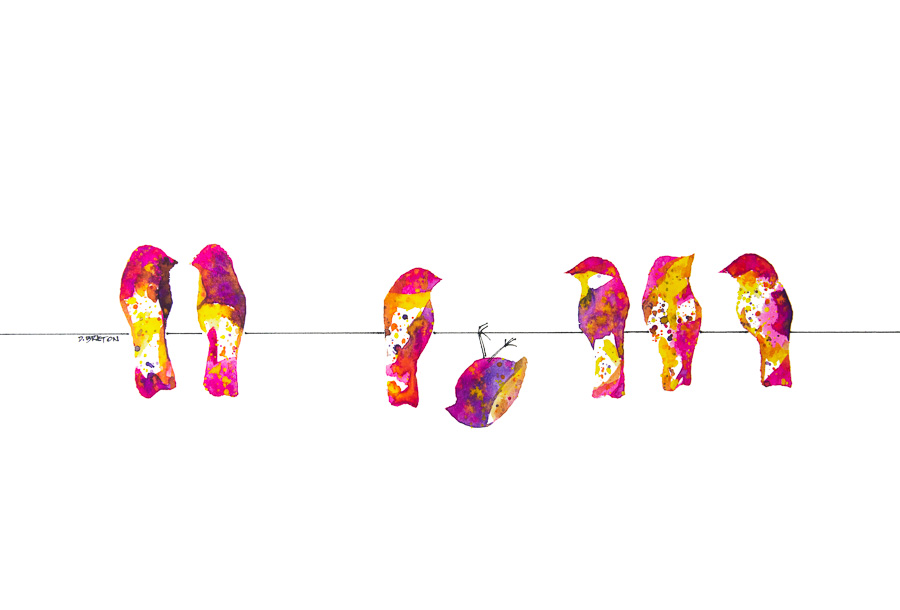 Pink colored birds on a wire with one upside down bird