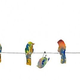 brightly colored birds on a wire painting with one hanging upside down