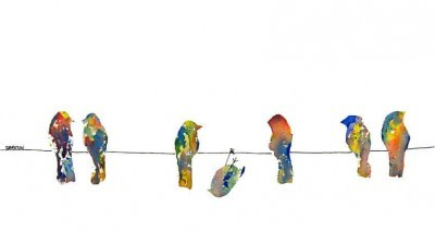 more sales of this brightly colored birds on a wire painting with one hanging upside down