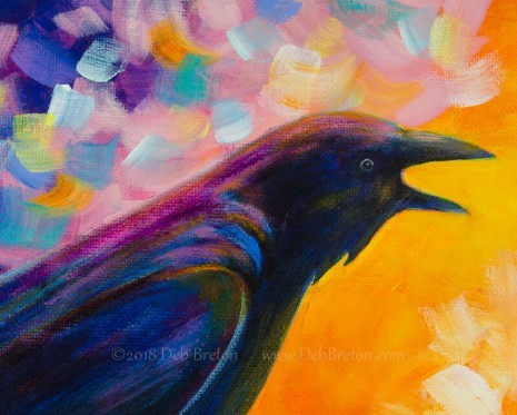 Mr. McGinnis abstract crow painting - close-up