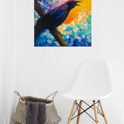 Mr. McGinnis – Wildly Colorful Abstract Crow Painting
