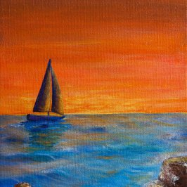 original paintings sailboat sailing into sunset painting