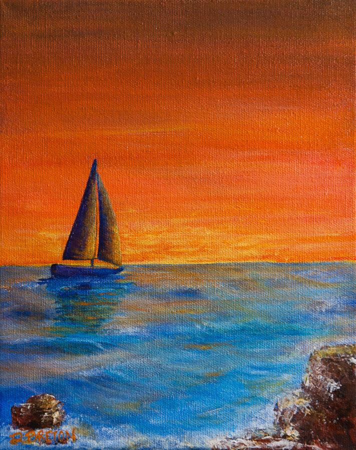 sailboat sailing into sunset painting