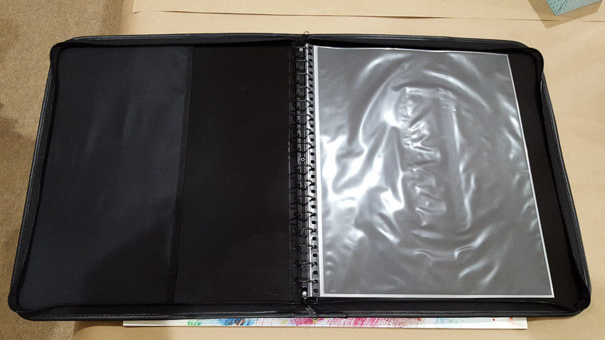 presentation case with polypropylene sheets loaded in it, open display