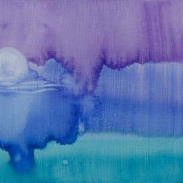 purple teal and blue watercolor like painting with the moon rising