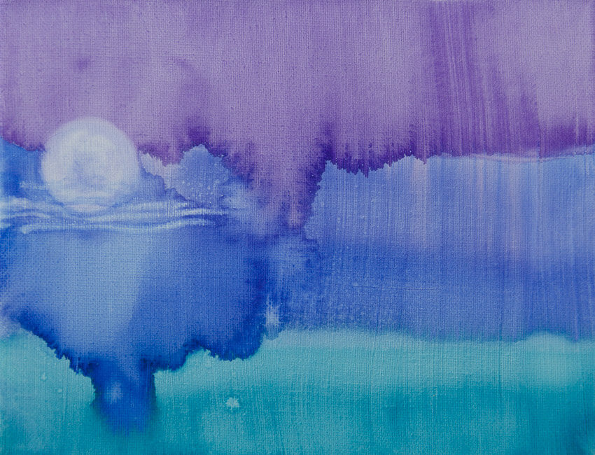 yesterday's painting purple teal and blue watercolor like painting with the moon rising