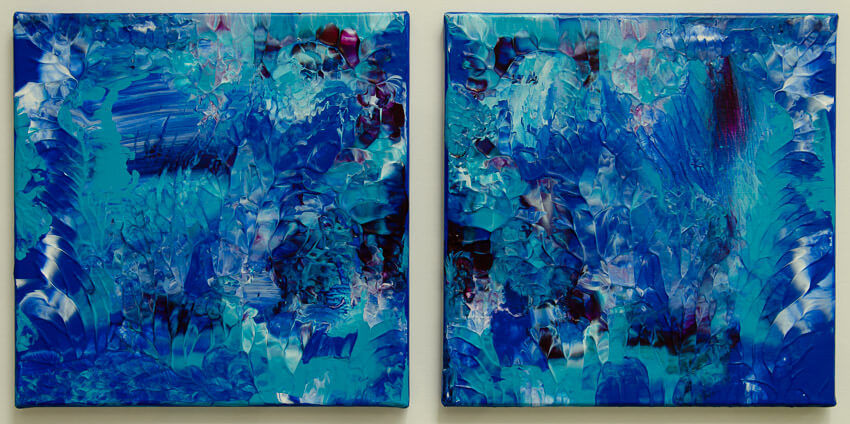 impasto style abstract underwater reef painting