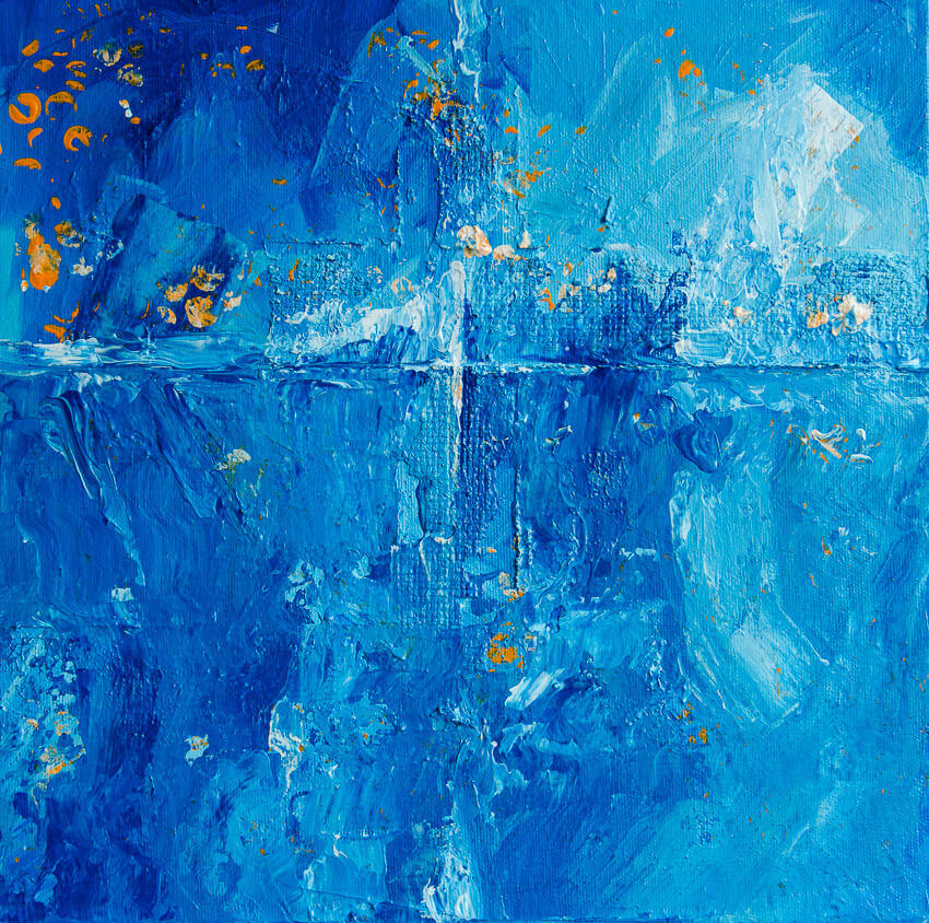 blue abstract painting melting ice glacier