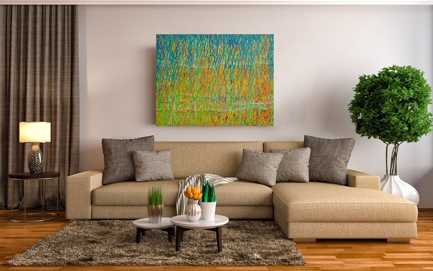 Spring Equinox painting hanging up on Living Room wall - Deb Breton