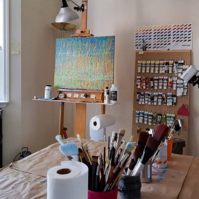 Spring Equinox on the studio easel, read the blog