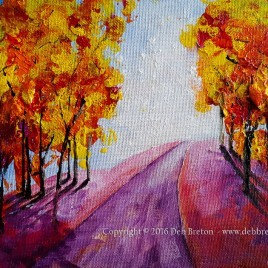 memory lane in autumn painting by artist Deb Breton