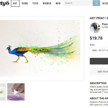 Peacock painting in the Society 6 Shop