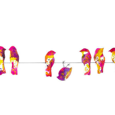 Pink Birds on a Wire – Fun and Whimsical Abstract Painting