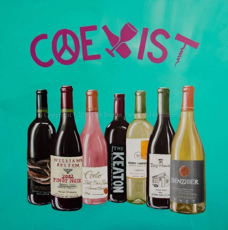 Coexist Pop-Art wine art painting by contmeporary artist Deb Breton