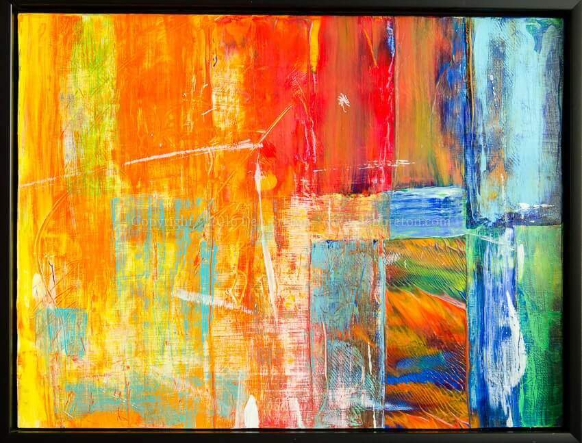 colorful abstract painting with shapes and textures