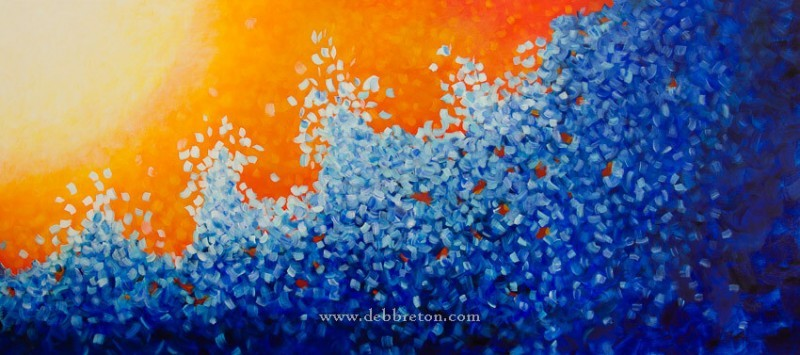 large commissioned abstract wave painting by Deb Breton