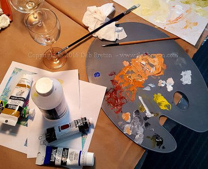 My painting palette and some wine