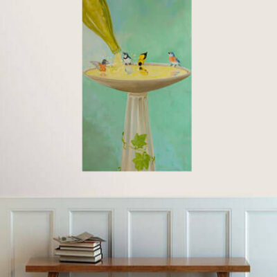 Wine Country Birdbath – Whimsical Painting