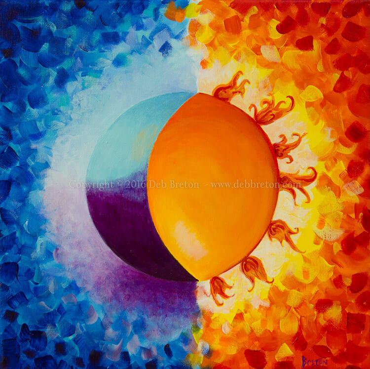 Sold metal print of Balancing Sun and Moon painting