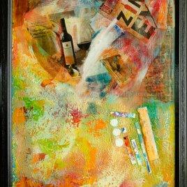 More wine framed original painting by artist Sonoma County artistDeb Breton