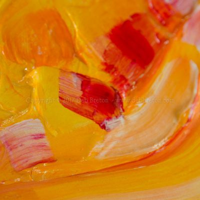 "Spring has Sprung textured painting by California artist Deb Breton Mixed Media on textured board. Framed Measurements: 7.75"" x 13.25"" x .5"" Spring has Sprung is a richly textured painting of yellows, orange, and red pinks. With very energetic paint strokes."