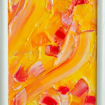 "Spring has Sprung by California artist Deb Breton Mixed Media on textured board. Framed Measurements: 7.75"" x 13.25"" x .5"" Spring has Sprung is a richly textured painting of yellows, orange, and red pinks. With very energetic paint strokes."