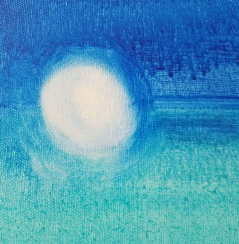 close-up of When the Night comes moon painting