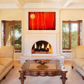 Abstract in Living room with fireplace