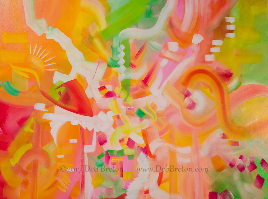 large abstract in spring colors by San Francisco artist Deb Breton
