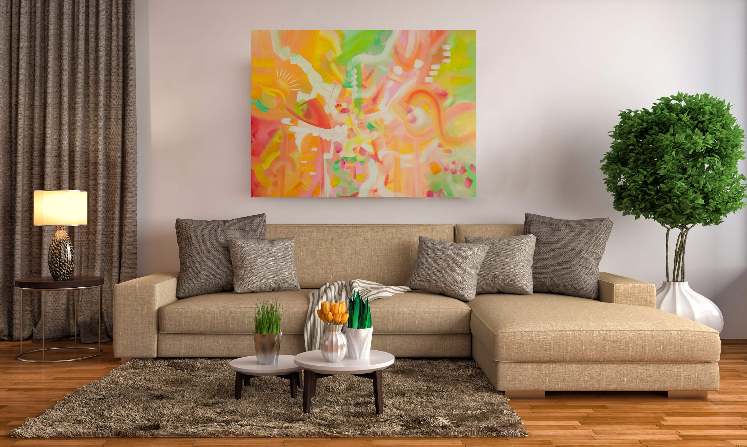 Large abstract spring time colored painting by Deb Breton