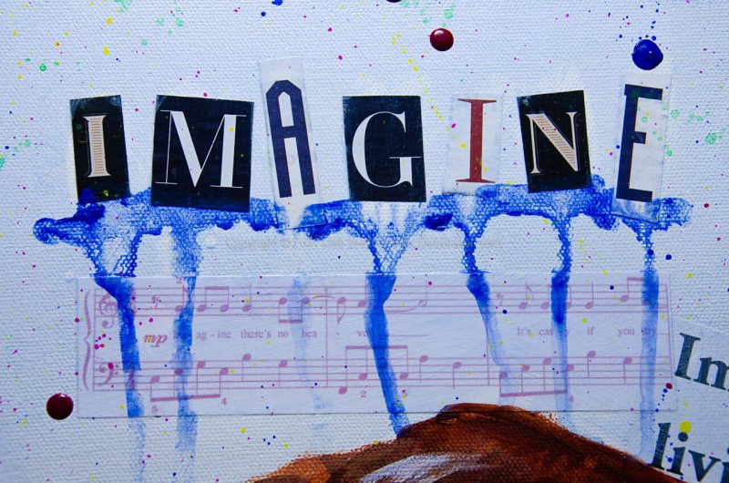 Close up of John Lennon - Imagine painting