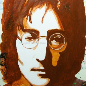 Close up of John Lennon - Imagine note text on cheek