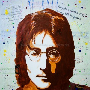 "John Lennon - Imagine 24 x 18"" Mixed Media by Deb Breton"