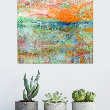 square abstract painting in home interior