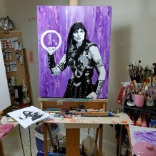 Xena Warrior Princess with Chakram – Mixed Media Painting