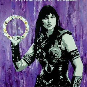 "Mixed media on stretched gallery wrap canvas by Deb Breton. Measures 28 x 22 55.88 cm) with deep 1.5"" sides painted with the purple theme wrapping around. One of my favorite lines from Lucy Lawless ""I HAVE MANY SKILLS"" painted in white across the top of the painting.  Her Chakram is painted in metallic silver and irridescent gold, with multi-faceted colored baubles in each section of the chakram."