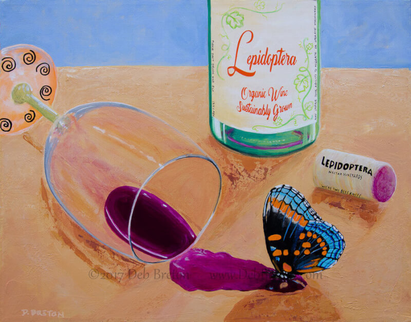 Happy Hour - Butterfly puddling on wine