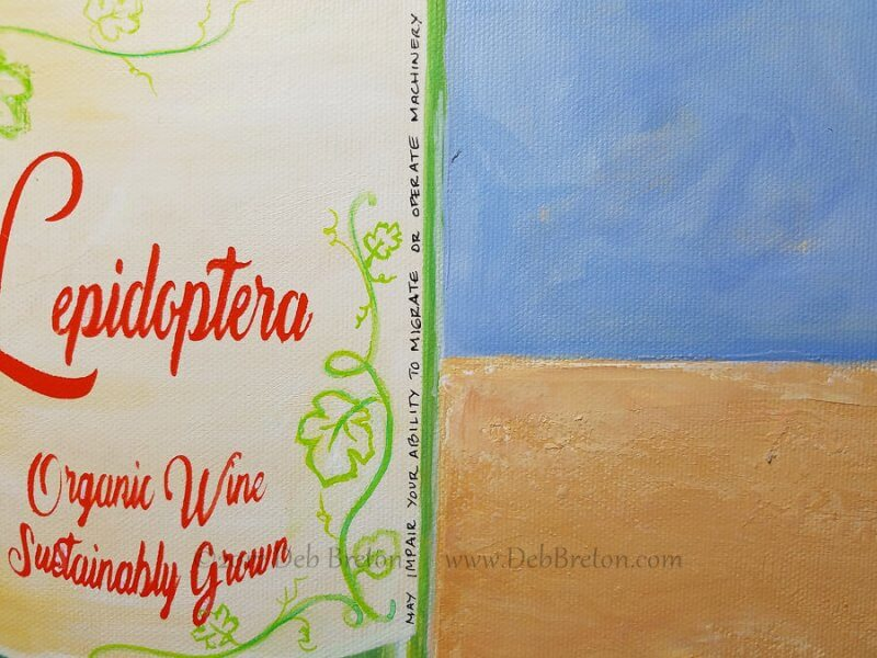 happy hour wine label painting