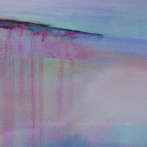 On The Precipice - painting with drips and whispy clouds