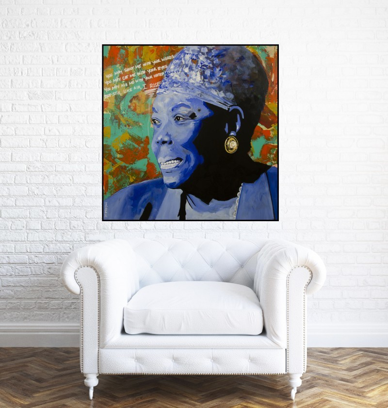 Maya Angelou painting in living area