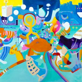 party animals large colorful mixed media painting