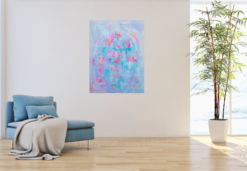 Angels Among Us. Abstract Painting in home interior.