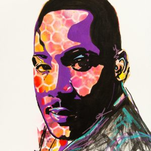 """Remembering Martin Luther King Jr. 24"""" x 18"""" acrylic on stretched canvas by Deb Breton"""