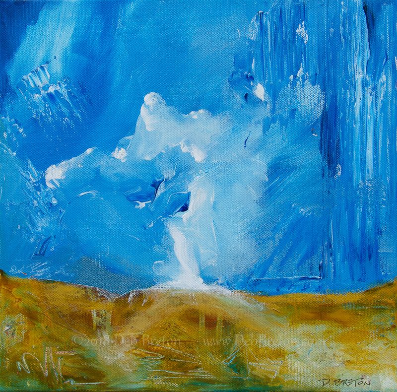 "Deluge 12 x 12"" abstract landscape painting by California artist Deb Breton"