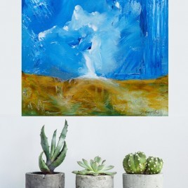 Deluge - small square abstract landscape painting in interior