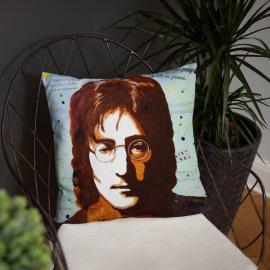 John Lennon Portrait on Square Pillow