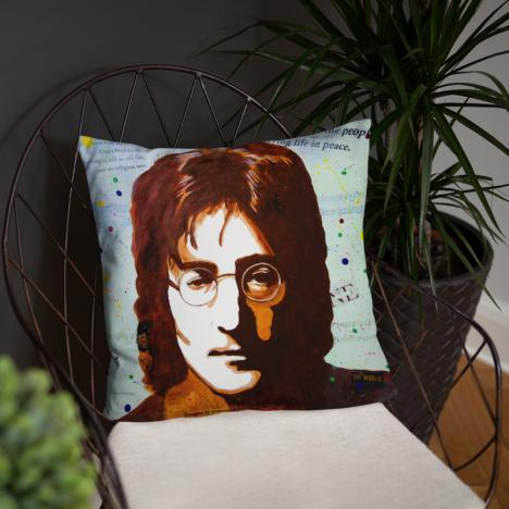 John Lennon Portrait on Square Pillow