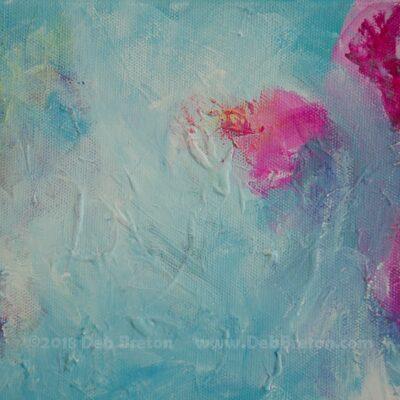 Close-up of abstract still life painting by Deb Breton