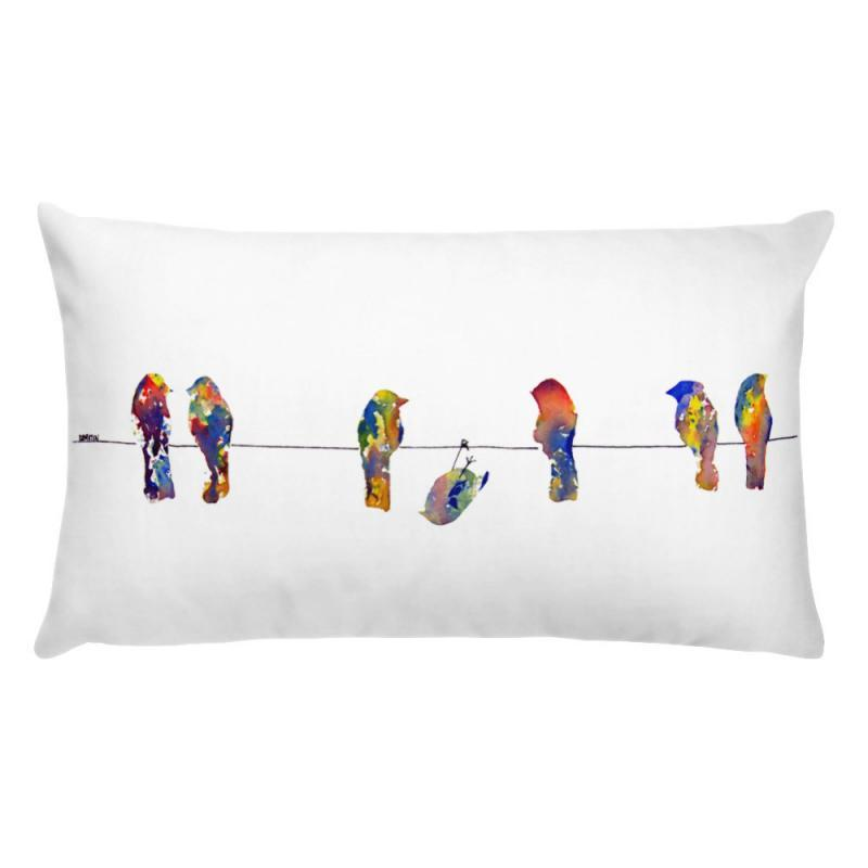 birds on a wire stuffed pillow print